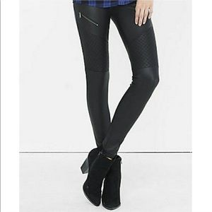 Express Faux Leather Moto Zip Leggings